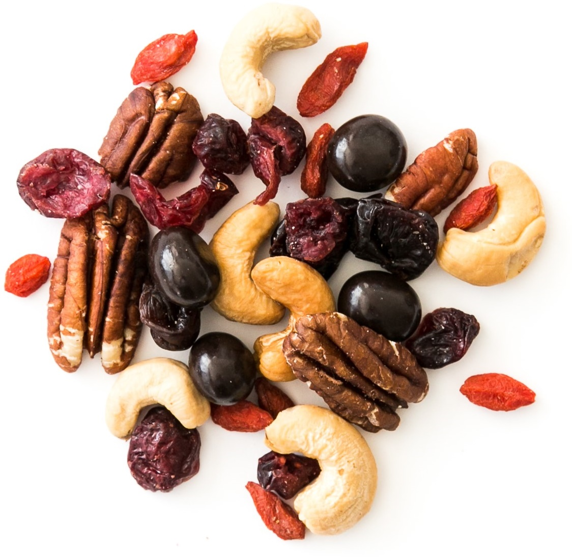 3pm Goji: roasted cashews, toasted pecans, chocolate covered coffee beans, goji berries, dried cherries