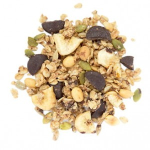 PB Chocolate Granola snack mix made of organic oats, chocolate chips, banana chips, organic peanut butter, pumpkin seeds, peanuts, coconut ribbons, sunflower seeds and flaxseeds