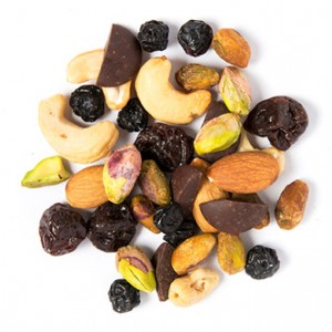 tuscan road trip snack mix made of 70+ dark chocolate buttons, dried blueberries, dried cherries, roasted cashews, almonds from Naked Snacks