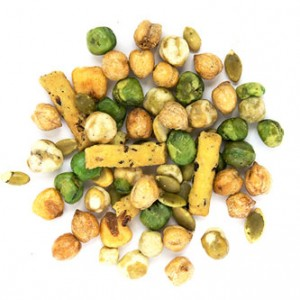 wasabi me snack mix from naked snacks, made of wild puffed rice sticks, roasted peas, wasabi peas and corn nuts