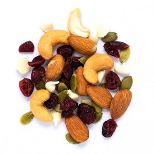 whole yogi snack mix made of almonds, cashews, sunflower seeds, cranberries and yoghurt chips from naked snacks