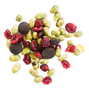 morning bestie: edamame, dried cranberries and 70% dark chocolate buttonsd