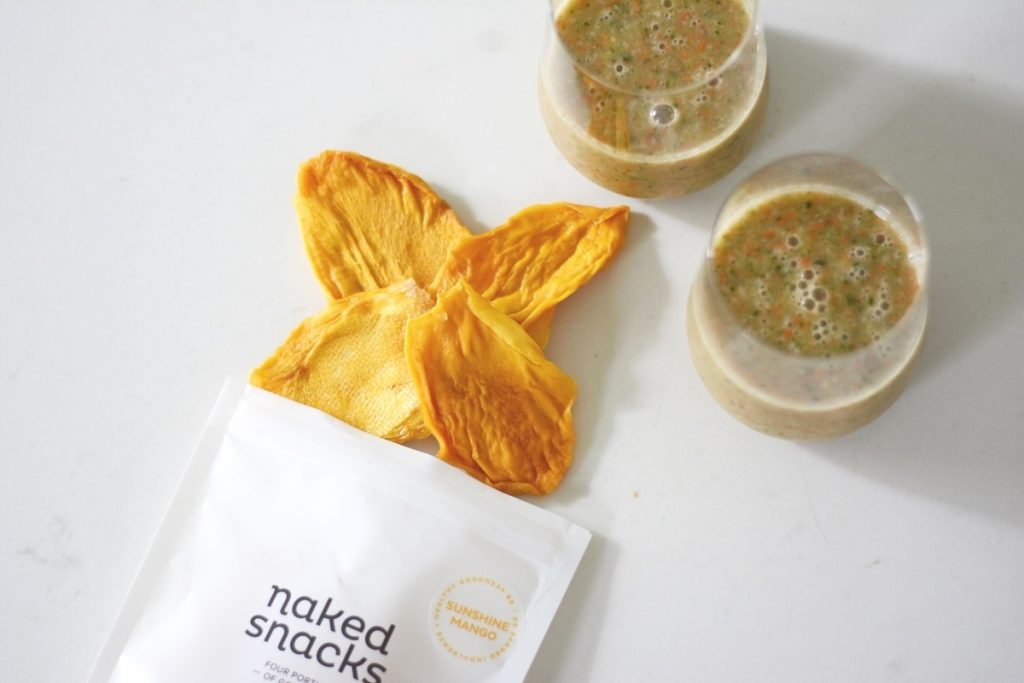 Naked snacks snack bag with sunshine mango, which are dried mangos