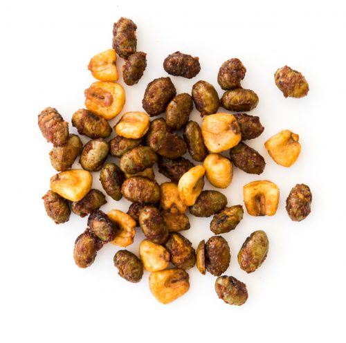 sweet sriracha crunch snack mix made of roasted corn nuts and roasted edamame beans