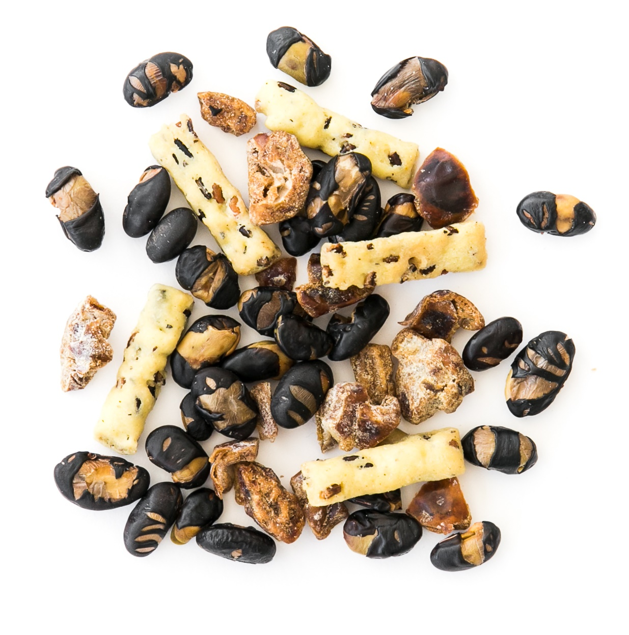temple stay snack mix made of roasted black beans, puffed wild rice sticks and dried dates