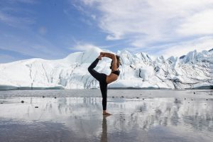 Cam Lee, yogi, doing yoga in Alaska