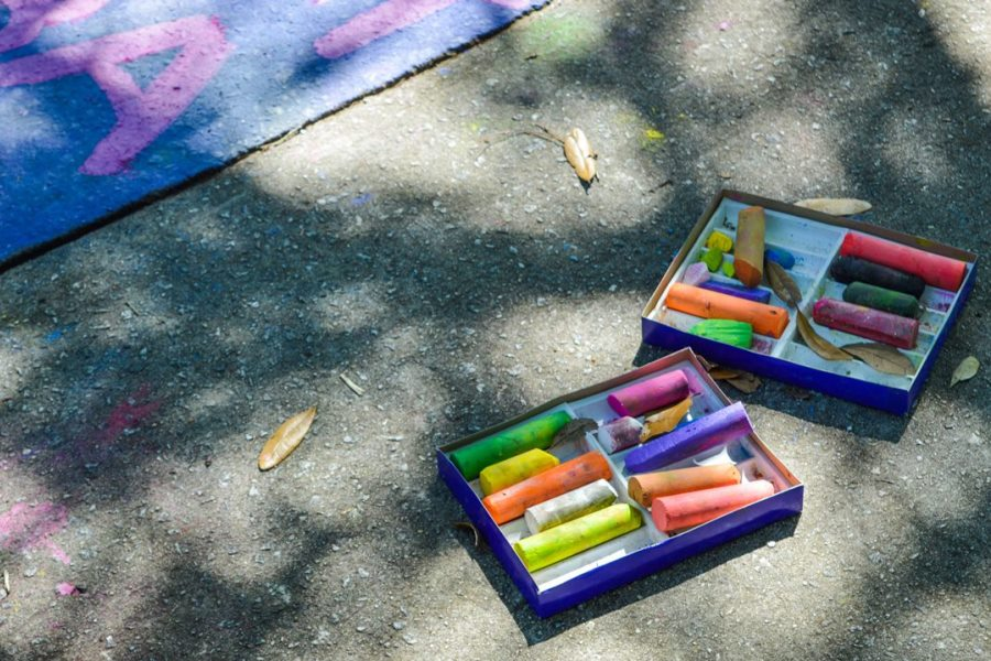 Chalk drawings on sidewalks