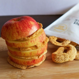 Sliced apple interspersed with orchard apple rings snacks from Naked Snacks