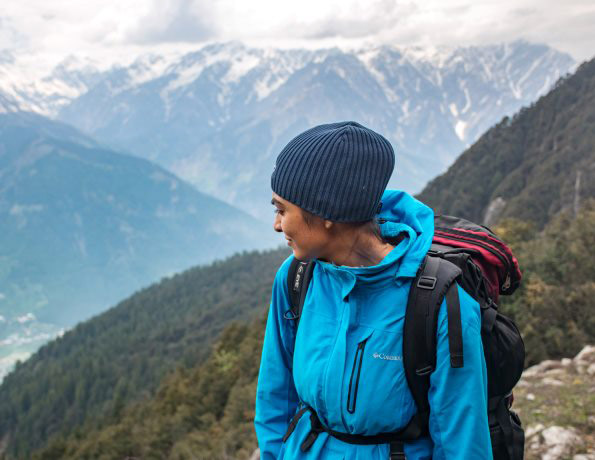 keeping fit in the winter through a girl hiking