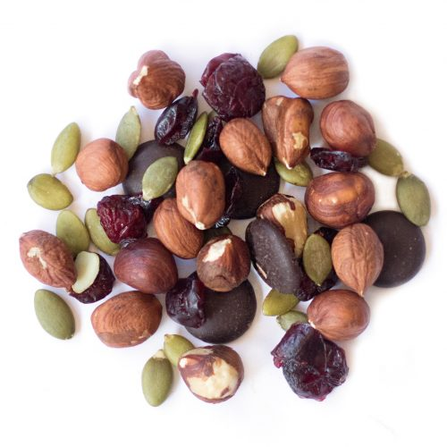 oh hazel snack mix made of dried cranberries, 70% dark chocolate buttons, hazelnuts and pumpkin seeds