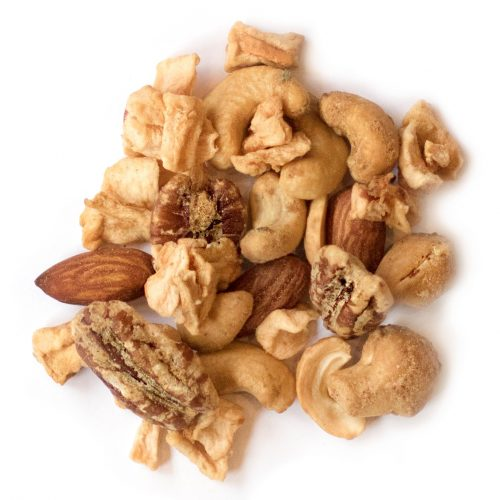 rowdy rosemary snack mix made of roasted almonds, roasted cashews, roasted pecans, rosemary and apple pieces