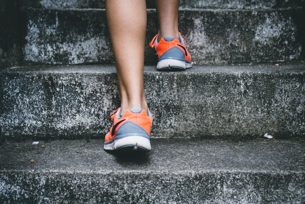 running shoes up stairs