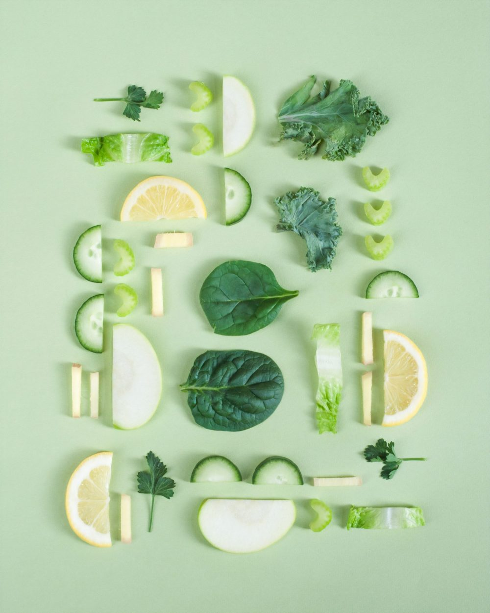 green cut open fruits and vegetables