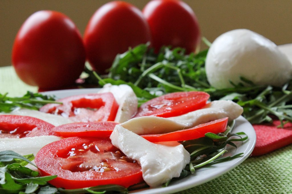 caprese salad with mozarella and tomatoes
