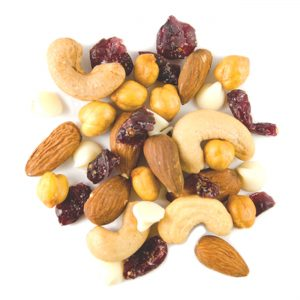 Protein power-up, a snack mix made of almonds, cashews, cranberries, yogurt chips and chickpeas