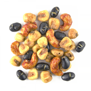 mexican remix snack mix made of roasted black beans, corn nuts and sriracha cashews