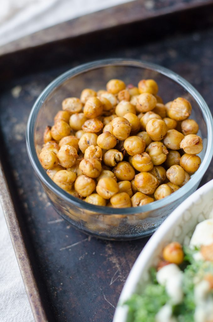 A jar of roasted chickpeas