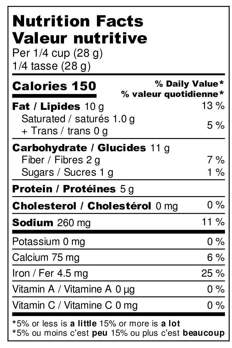 Hearty Tamari Nutrition Label