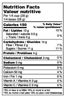 Maple Praline Almonds Nutrition Label