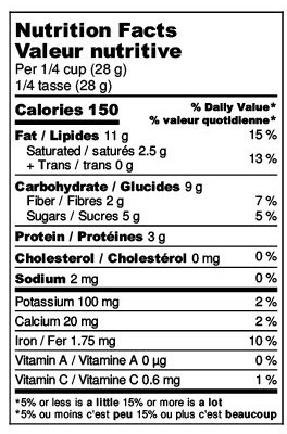 Oh Hazel Nutrition Label