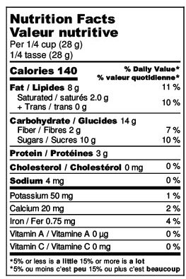Wholesome Yogi Nutrition Label