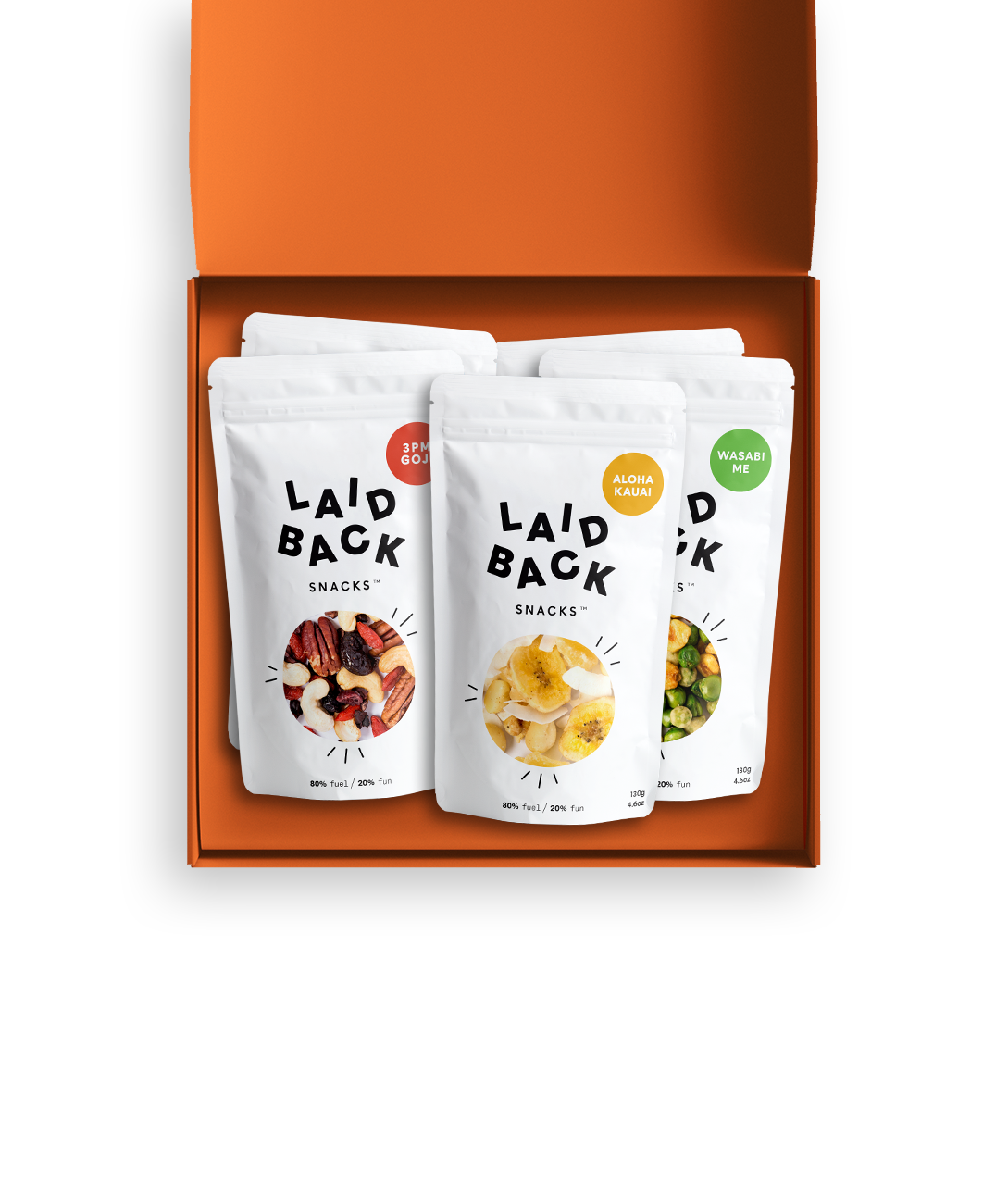 Laid Back Snacks box with packs