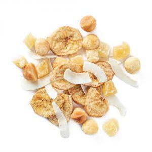 aloha kauai: banana chips, macadamia nuts, dried pineapple and coconut ribbons snack mix
