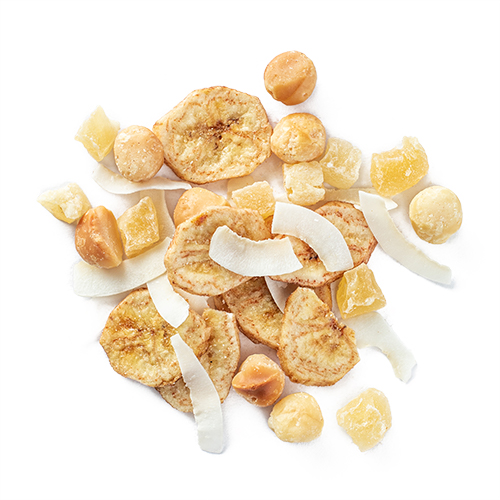 aloha kauai: banana chips, macadamia nuts, dried pineapple and coconut ribbons snack mix