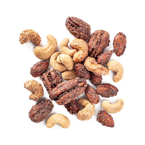 cmon cinnamon: dry roasted almonds, dry roasted cashews, dry roasted pecans snack mix