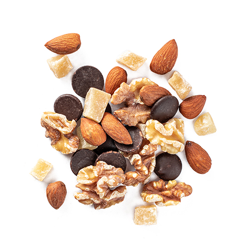 ginger staycation: crystallized ginger, toasted almonds, walnuts and 70% dark chocolate buttons snack mix
