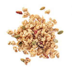 goji granola: snack mix made of oats, dried cranberries, sesame seeds, coconut, pumpkin seeds, goji berries, hemp seeds, and almonds
