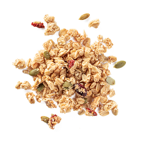 goji granola: snack mix made of oats, dried cranberries, sesame seeds, coconut, pumpkin seeds, goji berries, hemp seeds, and almonds