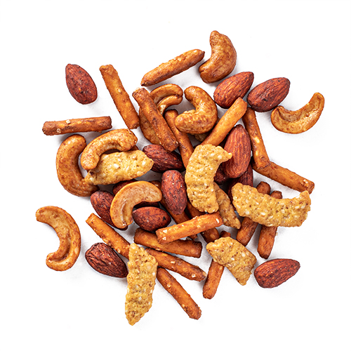 hearty tamari snack mix made of dry roasted almonds, dry roasted cashews, pretzel sticks, oat bran sesame sticks