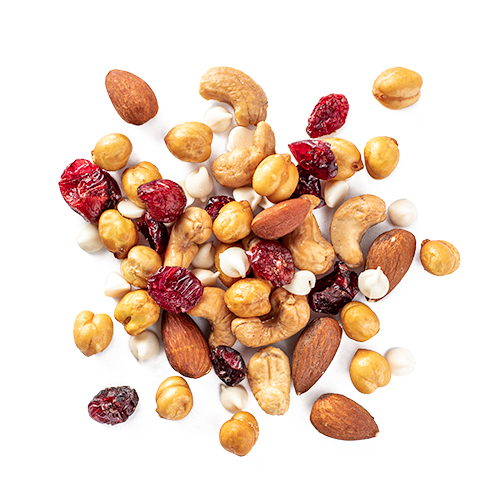 Protein power-up, a snack mix made of almonds, cashews, cranberries, yogurt chips and chickpeas by Laid Back Snacks