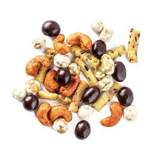 spicy joe snack mix: sriracha cashews, wild rice sticks, wasabi peas, and dark chocolate covered coffee beans