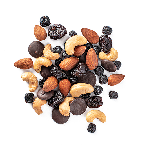 tuscan road trip snack mix made of 70+ dark chocolate buttons, dried blueberries, dried cherries, roasted cashews, almonds
