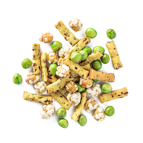 wasabi me snack mix made of wild puffed rice sticks, roasted peas, wasabi peas and corn nuts
