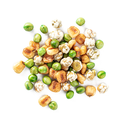weekend crunch snack mix made of roasted corn nuts, wasabi peas, and roasted peas
