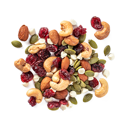 whole yogi snack mix made of almonds, cashews, sunflower seeds, cranberries and yoghurt chips