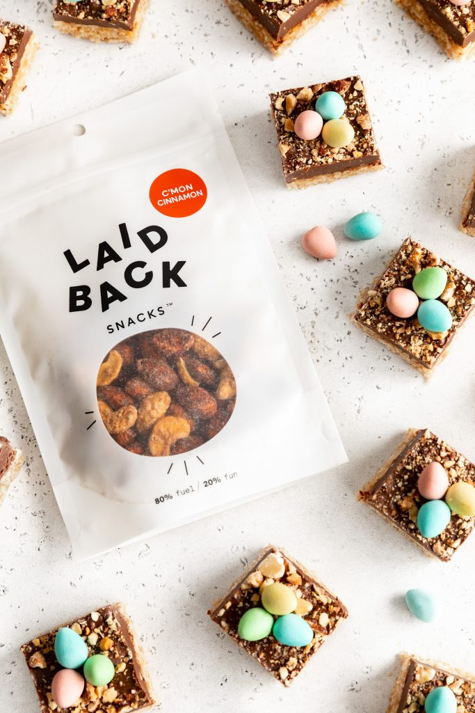 Laid Back Snacks C'mon Cinnamon bag around Easter Squares Bars