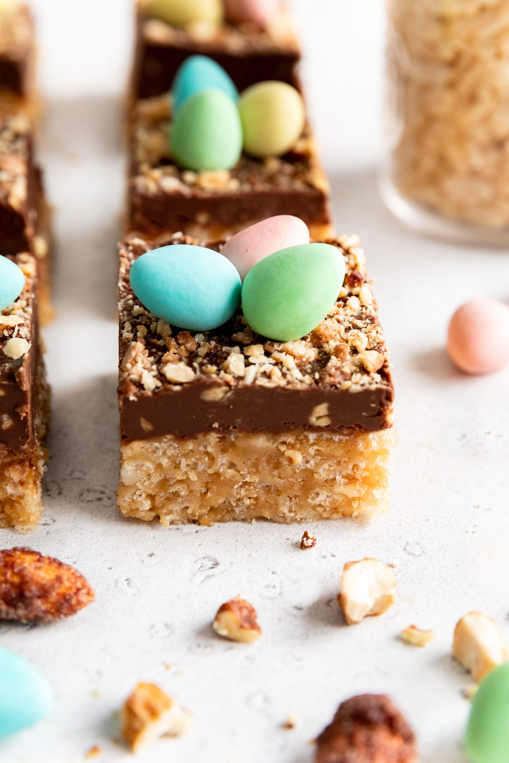 Fudge Rice Crisps Squares with Chocolate Eggs on Top